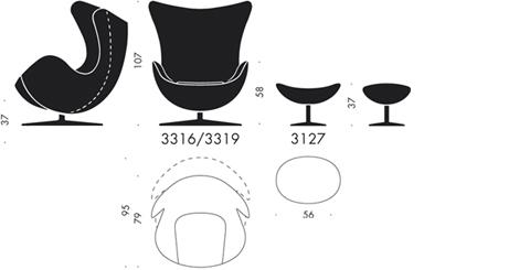 Misure standard 'Egg chair' di Arne Jacobsen (Estratte dal sito della casa produttrice http://www.fritzhansen.com) - TuttoSulleGalline.it