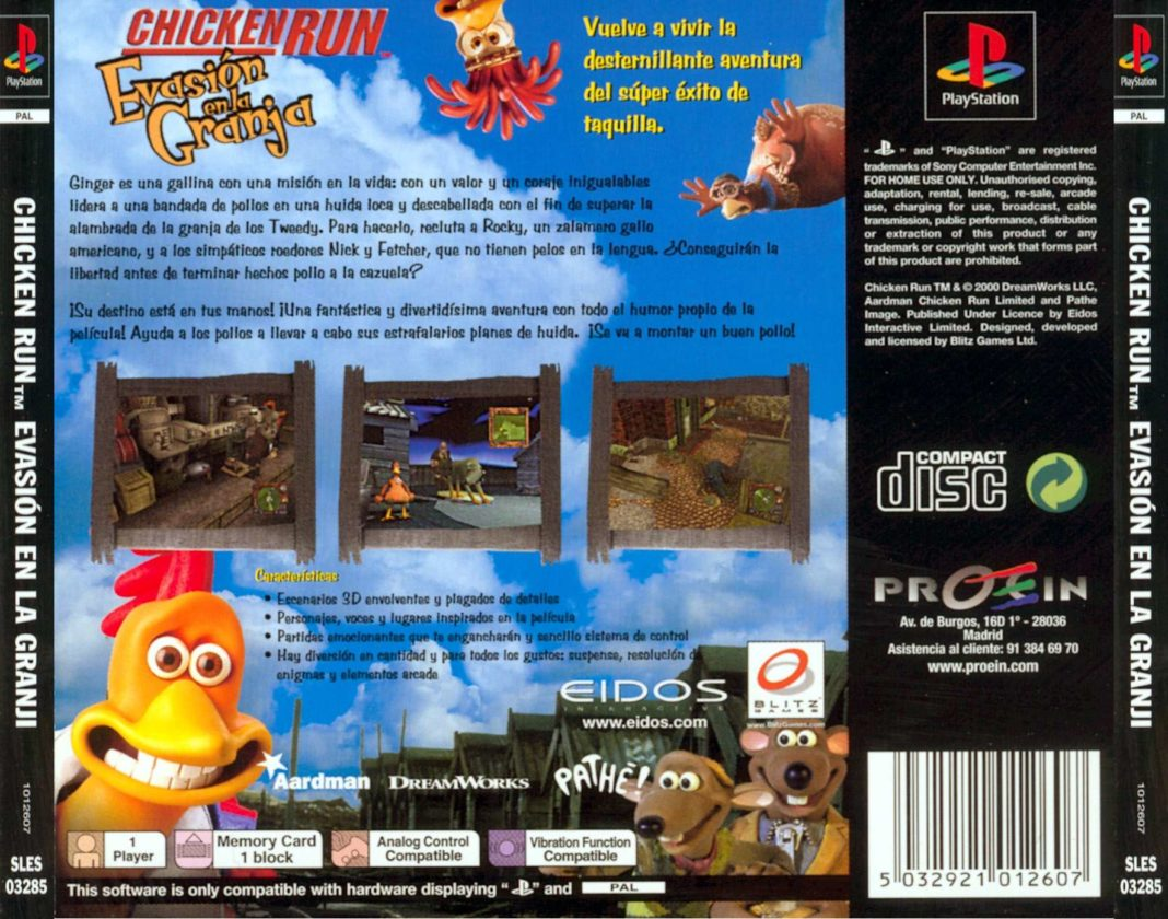 Galline in Fuga. La cover del videogioco per la console Playstation.