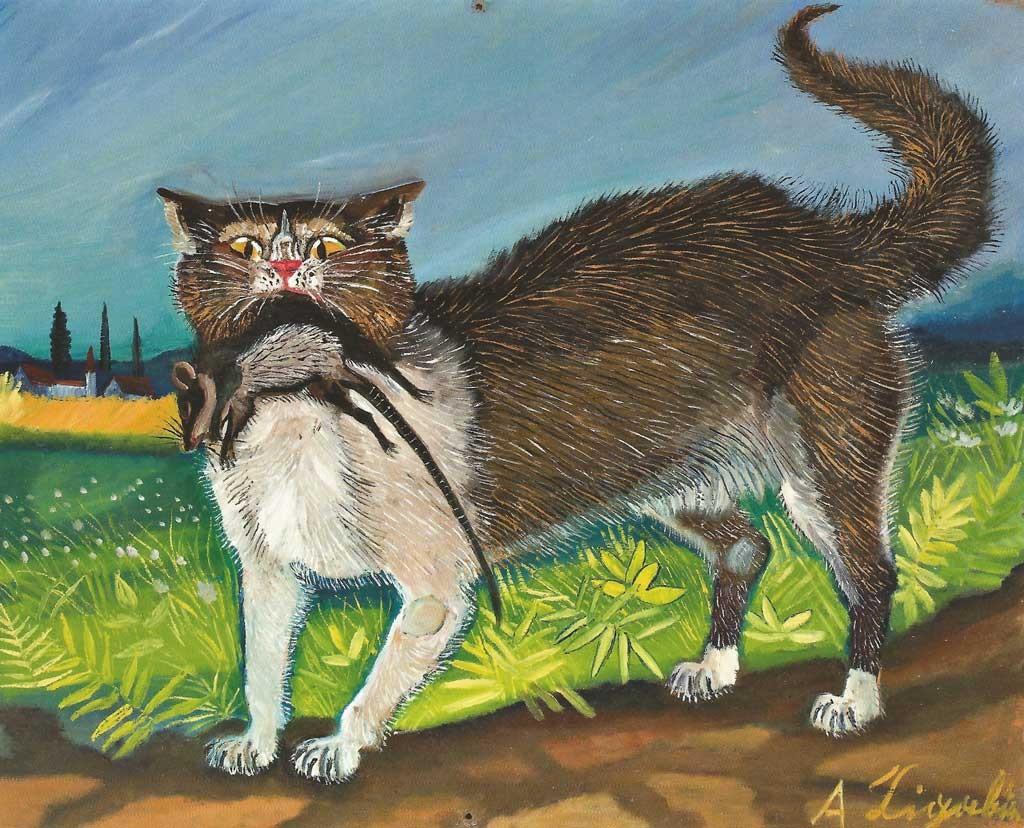 Gatto con topo, dipinto di Antonio Ligabue