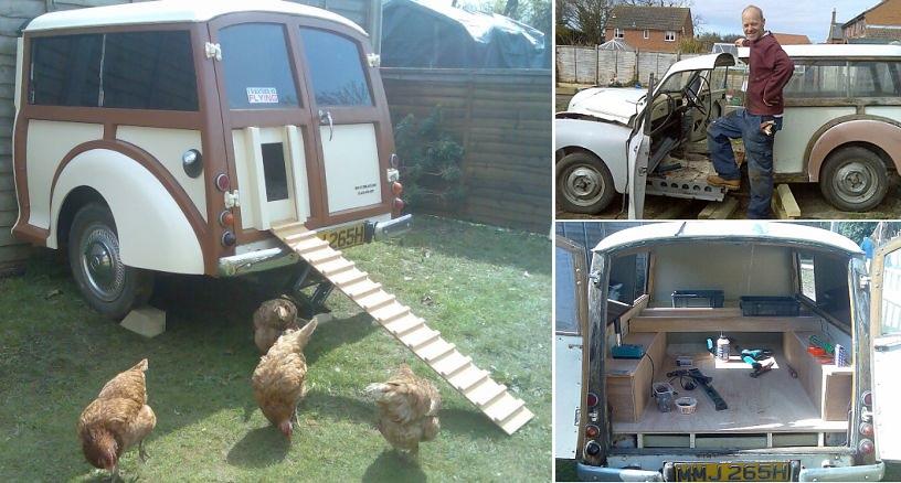 Retro di un'auto d'epoca trasformato in un pollaio fai da te