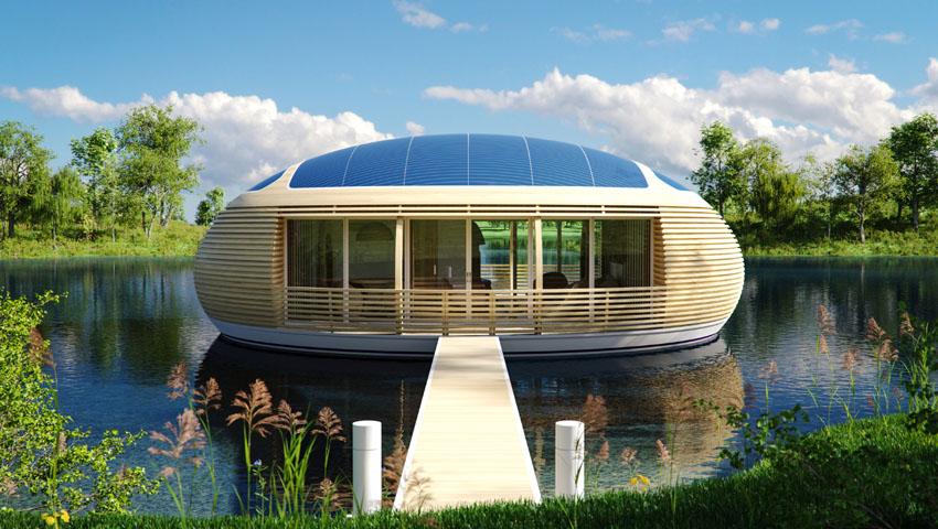 La casa-uovo galleggiante con la passerella di accesso
