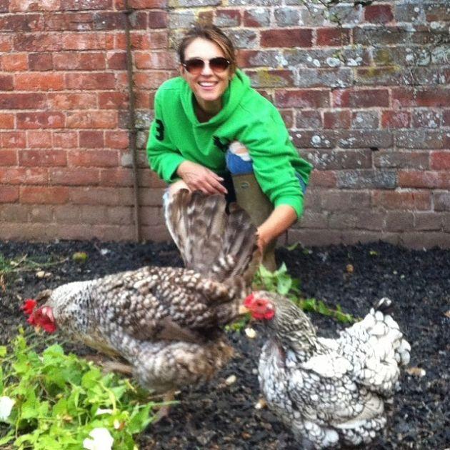 Elizabeth Hurley gioca con due bellissime galline