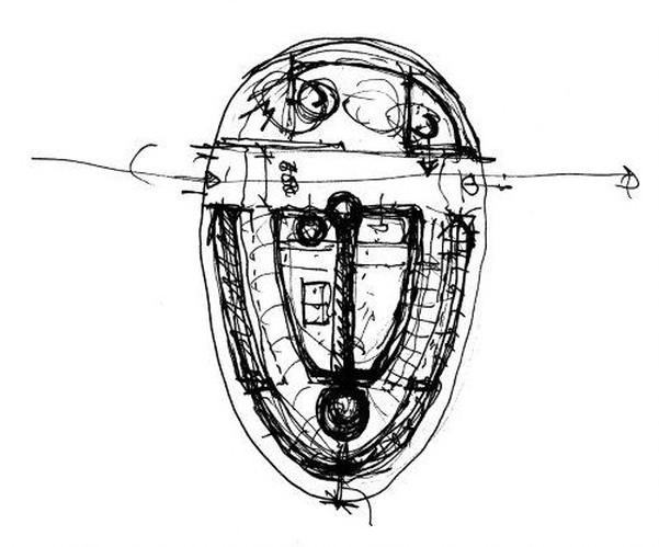 bozza di progetto dell'Exbury Egg, la mini casa galleggiante a forma d'uovo