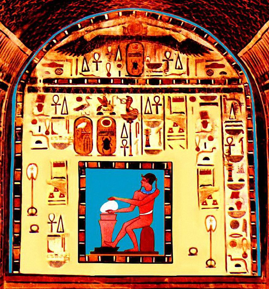 Il Dio egizio Ptah plasma al tornio l'uovo della vita