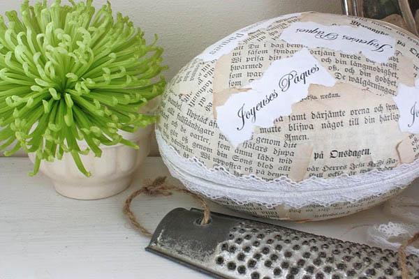 Uovo di Pasqua di carta fatto in casa in stile shabby chic