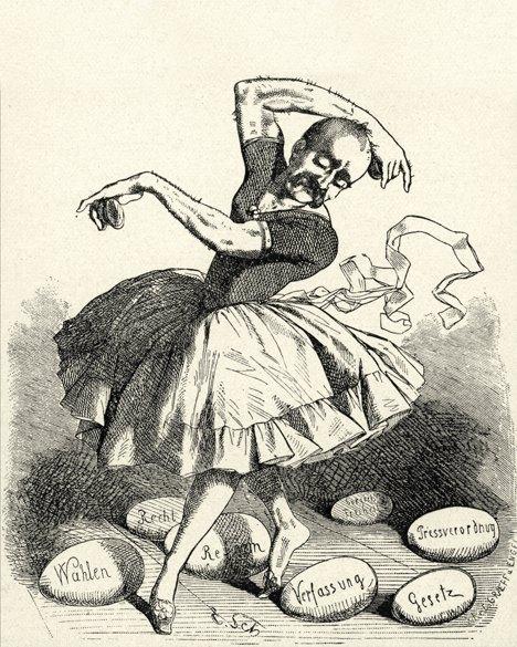 La danza dell'uovo nella satira politica raffigurante Bismarck