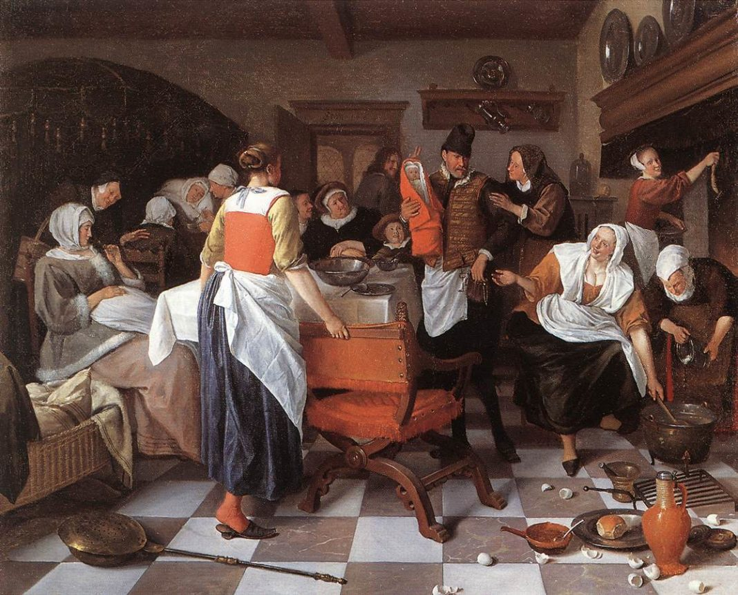 The Christening Feast, Jan Steen (1668) - I festeggiamenti e la danza dell'uovo