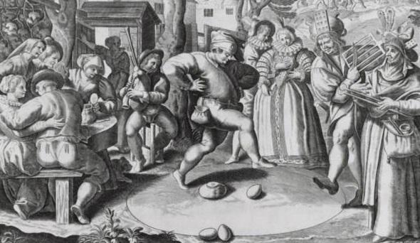La danza dell'uovo per spostarlo al di fuori di un cerchio