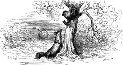 Illustrazione in bianco e nero di gallo su un albero e volpe ai suoi piedi a terra