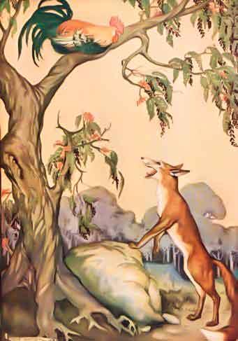 Illustrazione a colori di gallo che scappa da una volpe volando sul ramo di un albero