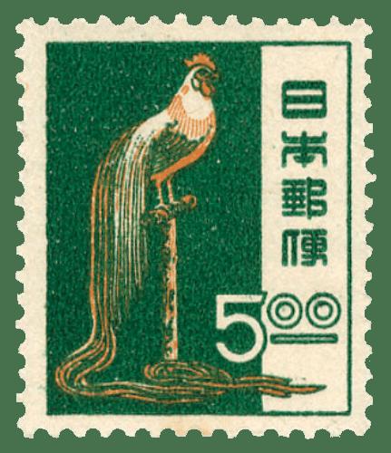 Francobollo giapponese raffigurante un esemplare di gallo Onagadori (1951 circa).