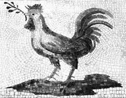 Effige di gallo coronato di razza Siciliana raffigurato in un mosaico di epoca romana