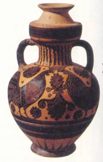 Effigi di galli coronati di razza Siciliana raffigurati su vasi