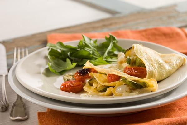 Crêpes con verdure grigliate/stufate