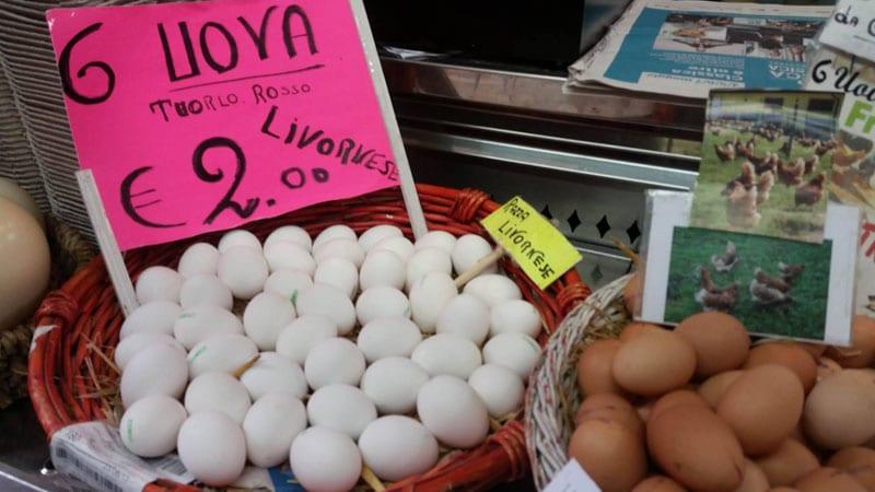 Uova tuorlo rosso (adatte ai bambini) deposte da galline di razza Livornese