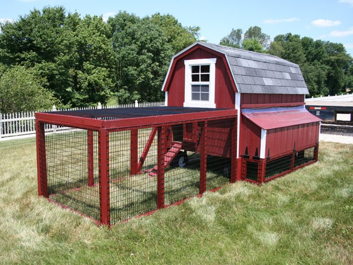 I bellissimi pollai rossi e bianchi nello stile dei fienili americani