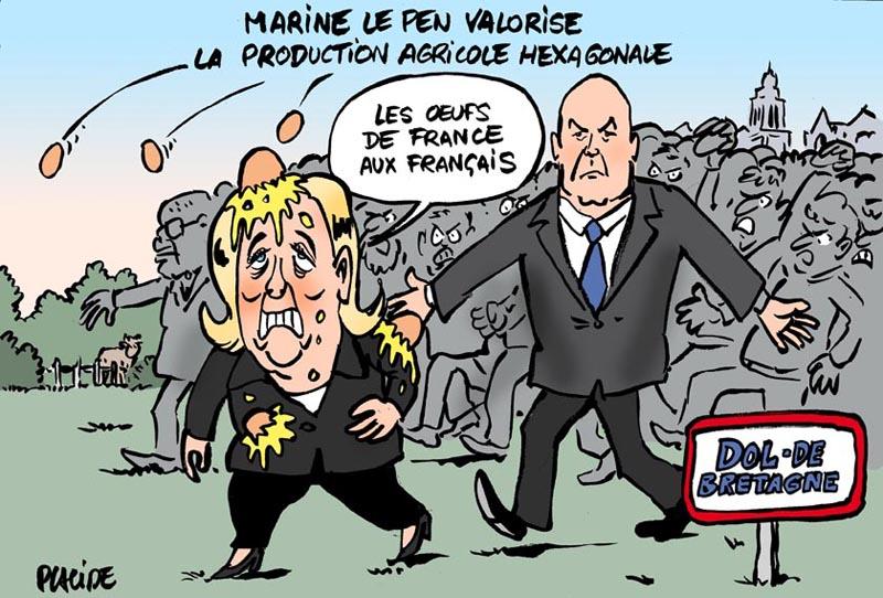 Vignetta satirica della contestazione a Marine Le Pen in occasione della visita all'azienda di trasporto Guisnel a Dol-de-Bretagne Guisnel (2017)