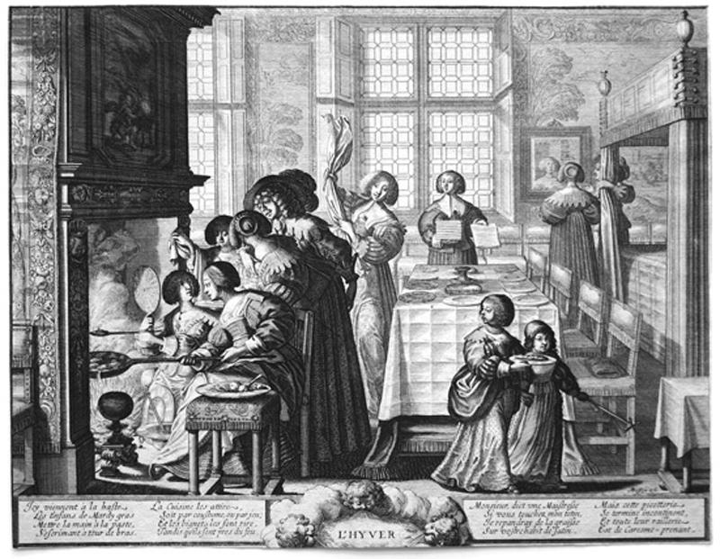 La cucina all'epoca di Massialot (L'inverno di Abraham Bosse, 1635 circa)