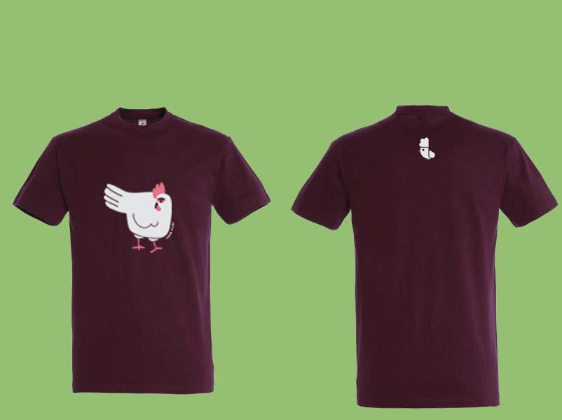 La t-shirt uomo LEGHORN CHICKEN di colore amaranto (omaggio alla città e al porto di Livorno).