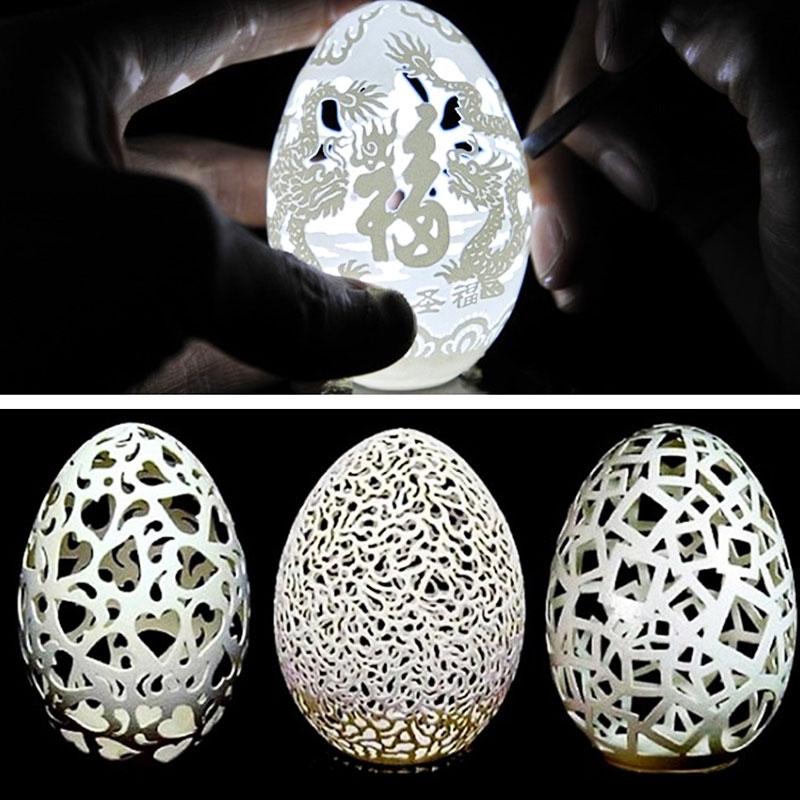 Esempi di uova incise da Wen Fuliang, artista cinese (egg carving)