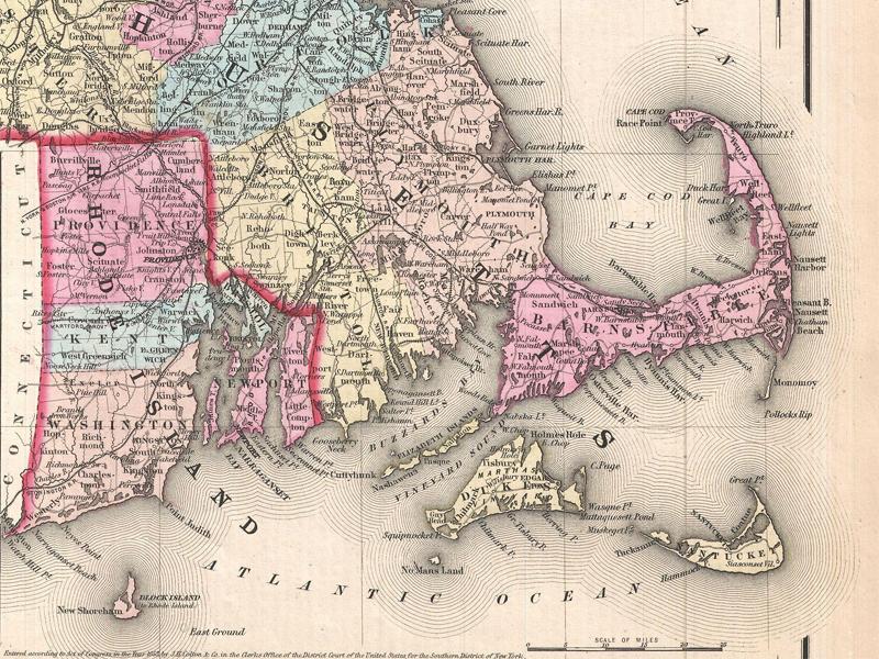 Antica mappa dello stato del Rhode Island