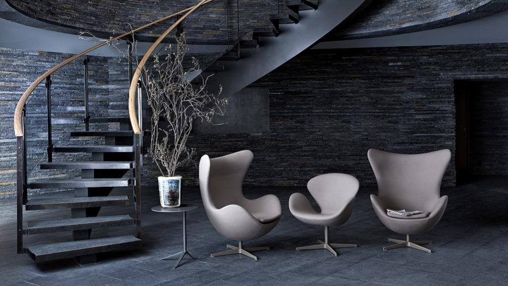 Tre poltrone di design egg chair