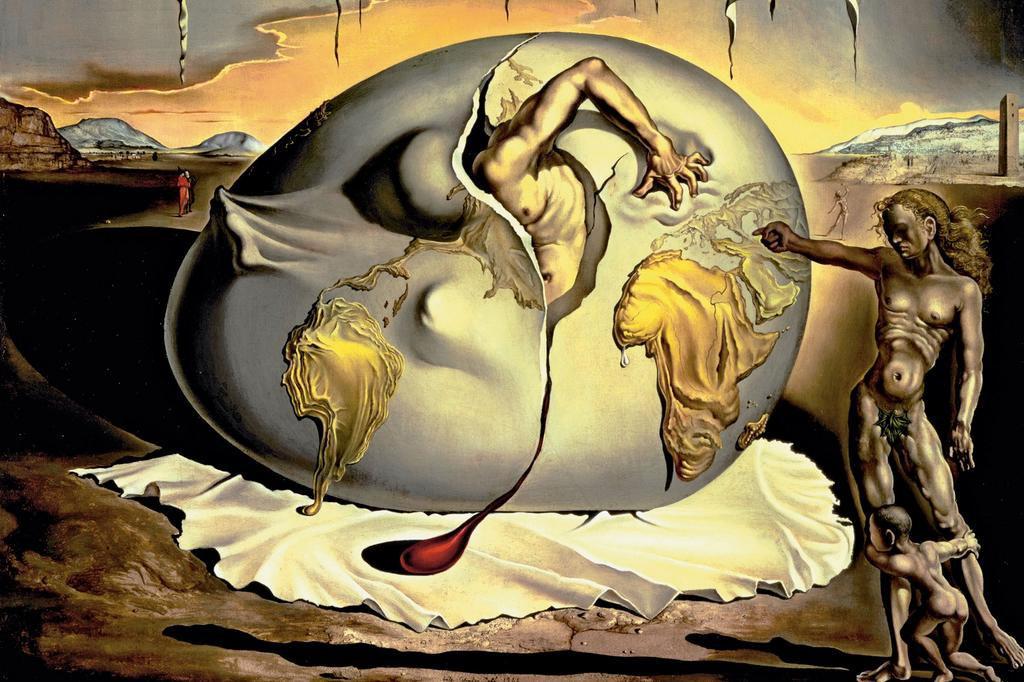 Bambino geopolitico osservante la nascita di un uomo nuovo (1943) - Salvador Dalì | La gallina nella psicoanalisi