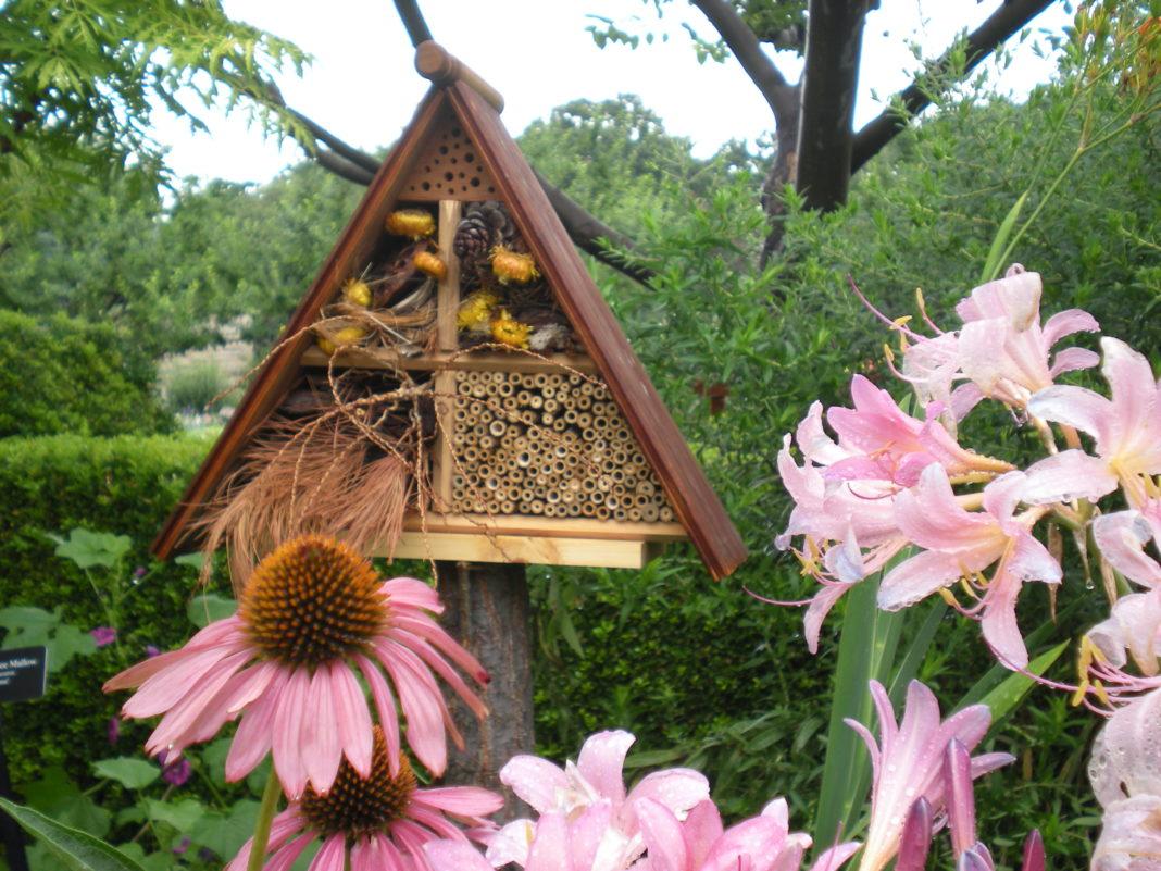 Hotel per insetti a forma di capanna tra i fiori del giardino