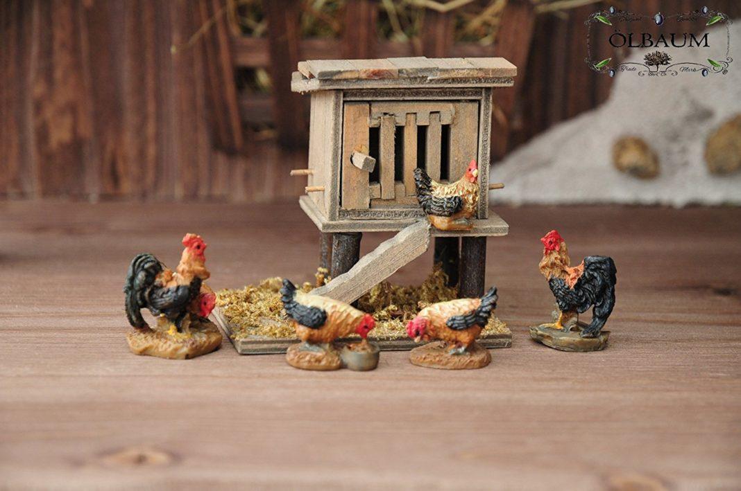 Pollaio da Presepe Olbaum con galli e galline