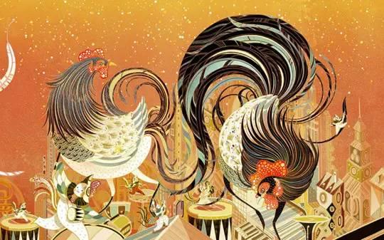 Bellissima grafica per i festeggiamenti dell'Anno del Gallo 2017 dello Zodiaco cinese