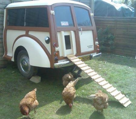 Pollaio domestico con galline ricavato dal recupero di mezza Morris Traveller del 1970