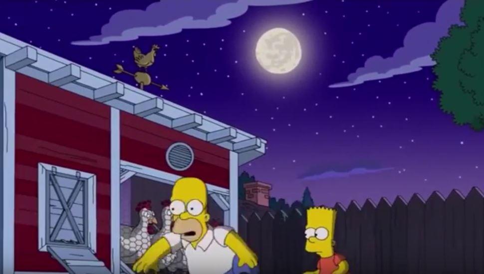Homer e Bar tentano di rubare le uova dal pollaio di Flanders
