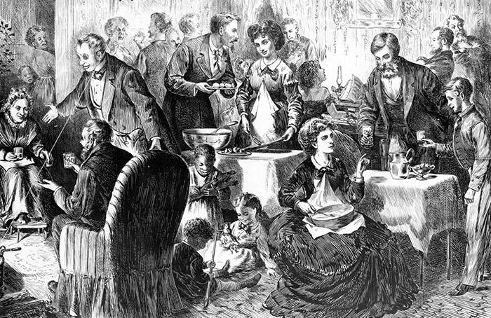 """Disegno di L. L. Sheppard intitolato """"Natale nel Sud, merenda con zabaione"""", 1870"""