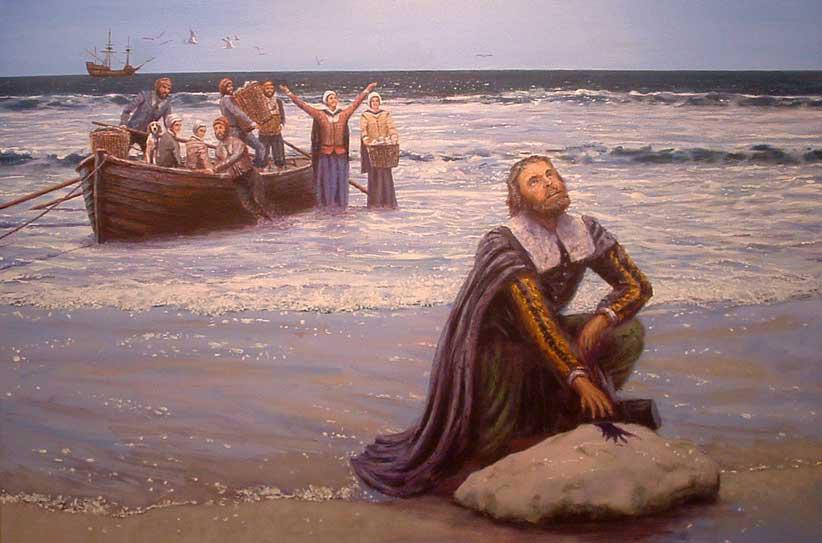 Pellegrini europei sbarcano a Plymouth Rock, sulla costa del continente americano