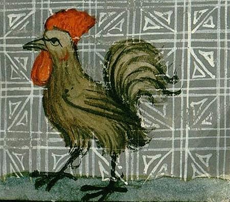 Miniatura medioevale gallina di Bartholomaeus Anglicus
