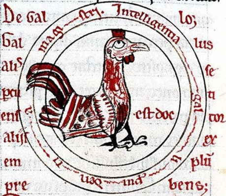 Miniatura medioevale gallina di Hugues de Fouilloy
