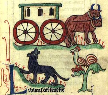 Miniatura medioevale gallina di Philippe de Thaon (bestiario)
