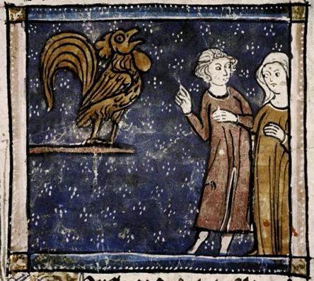 Miniatura medioevale gallina di Richard de Fournival (bestiario d'amore)