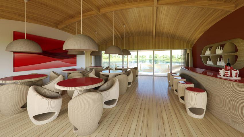 L'interno della casa-uovo galleggiante