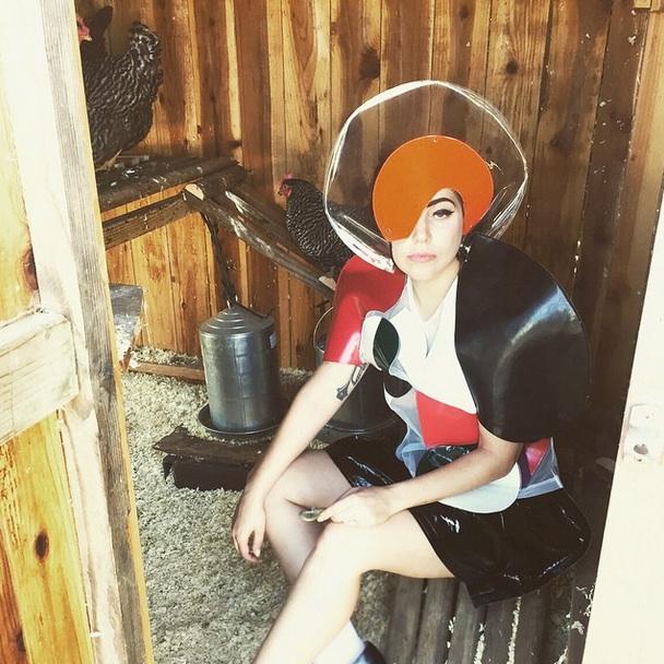 Lady Gaga, scatti fashion nel pollaio