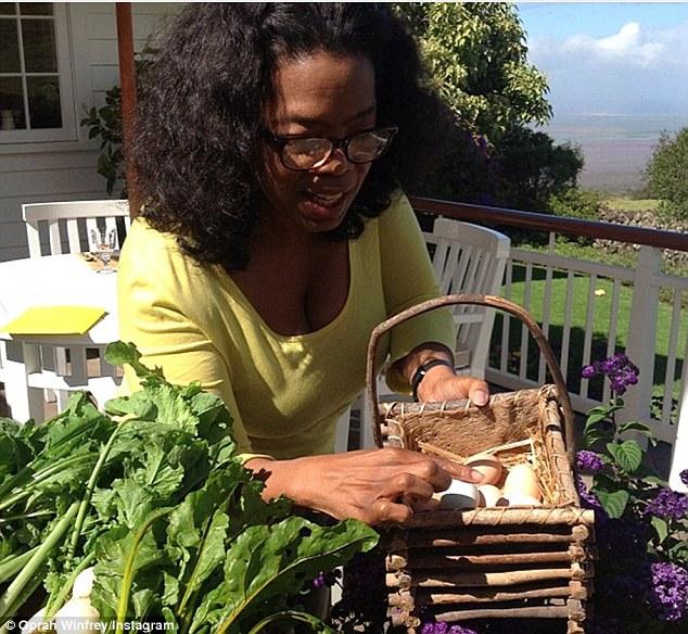 Oprah Winfrey con il cestino con le uova