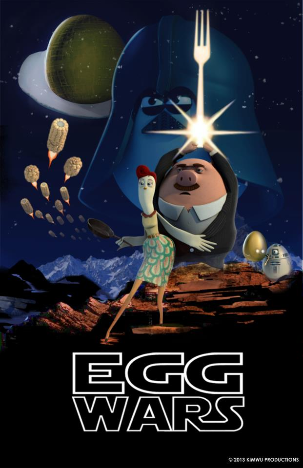 Locandina parodia per omaggiare il cartone animato Chicken or the egg