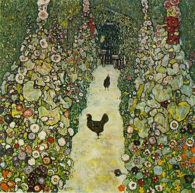 Garden path with chicken (Viale di giardino con galline) - Gustav Klimt