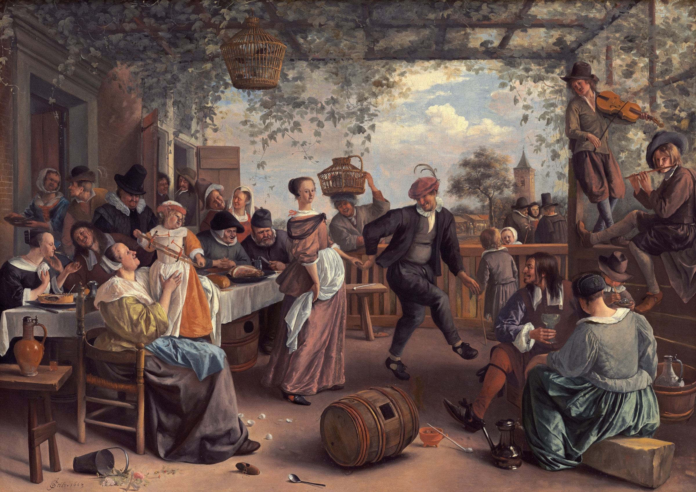 The Dancing Couple, Jan Steen (1663) - La danza dell'uovo dei giovani fidanzati
