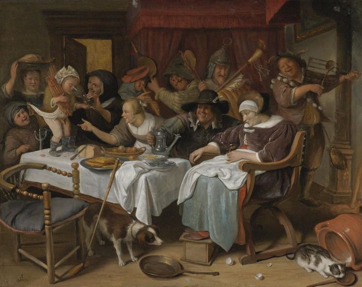 The Athenaeum - Twelfth Night, Jan Steen  (1668) - La cena festosa e la danza dell'uovo