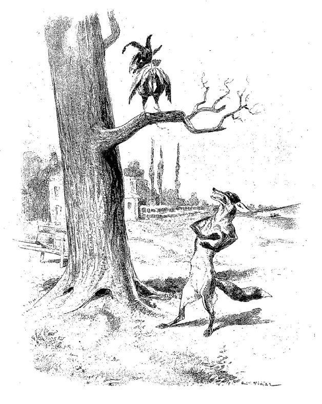 Illustrazione di galline che si rifugia sul ramo di un albero per sfuggire alla volpe affamata