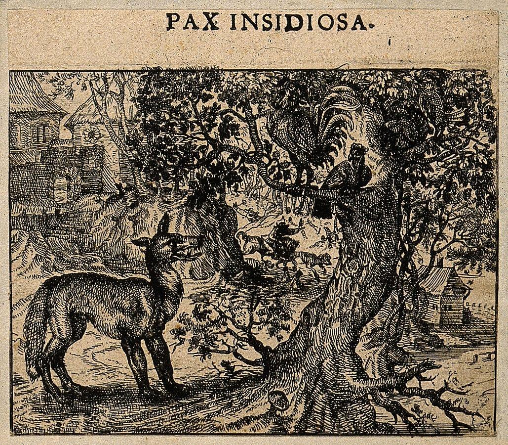 Illustrazione di gallo e gallina sull'albero che fuggono dalla volpe