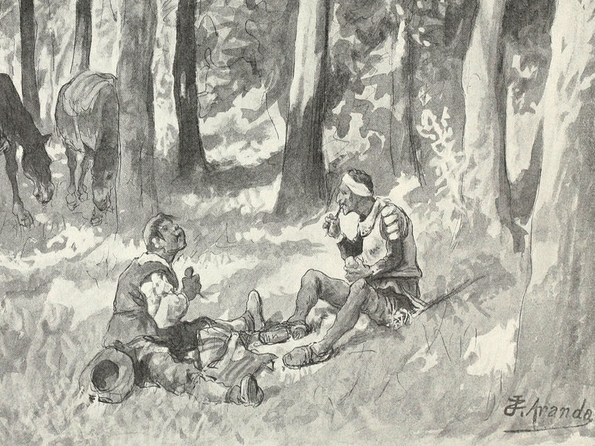 Don Quijote y Sancho Panza comiendo en el campo