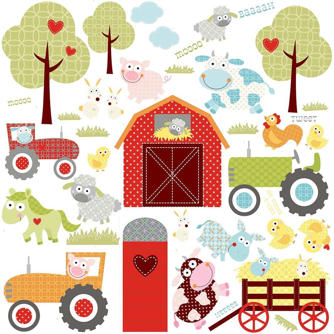 Sticker a tema fattoria con fienile rosso tradizionale