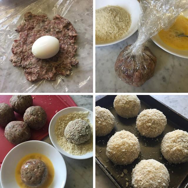Varie fasi di preparazione delle Scotch Eggs
